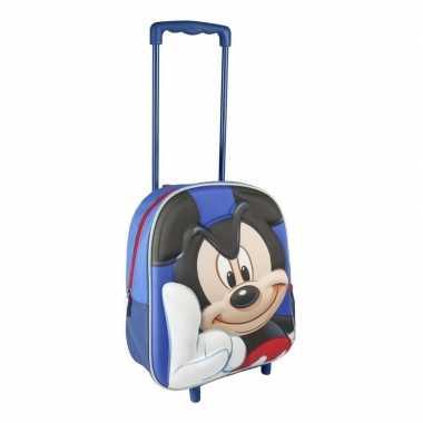 Blauwe 3d mickey mouse koffer voor jongens 31 cm