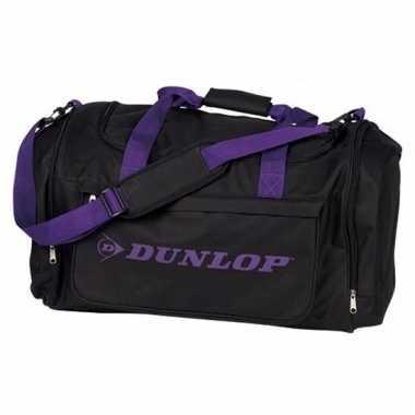 Dunlop weekendtassen zwart met paars
