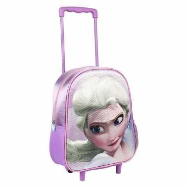 Paarse 3d elsa frozen koffer voor meisjes 31 cm