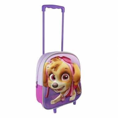Paarse 3d paw patrol koffer voor meisjes 31 cm