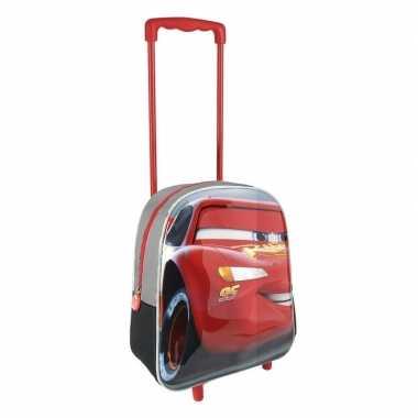 Rode 3d cars koffer voor jongens 31 cm