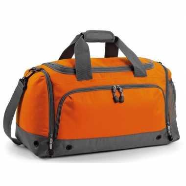 Voetbaltas oranje/grijs 30 liter