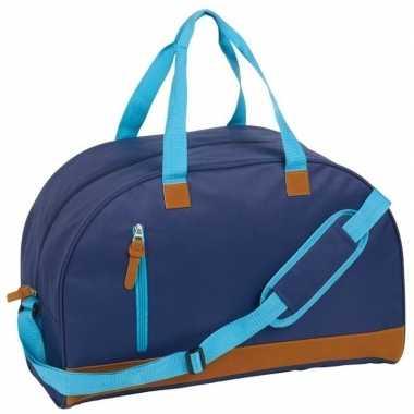 Weekendtas donkerblauw/bruin met schouderband 40 liter