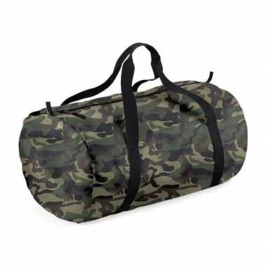 Weekendtassen camouflage groen rond 32 liter